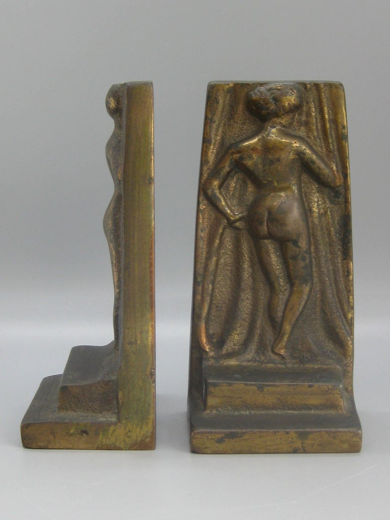 Antique Art Deco Nude Lady Woman Figural Cast Brass Bookends Hubley Era For Sale 2