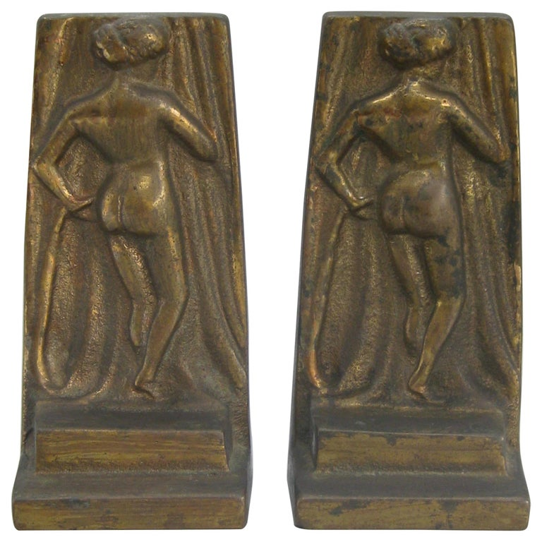 Antique Art Deco Nude Lady Woman Figural Cast Brass Bookends Hubley Era For Sale