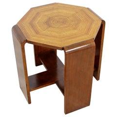 Antique Art Deco Octagon Wood Side End Table, 1940s
