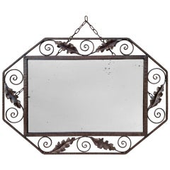 Antique Art Deco Octagonal Wrought Iron Mirror, 1932