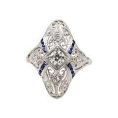 Antique Art Deco Old European Cut Diamond & Sapphire Filigree Navette Ring