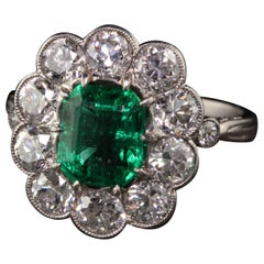 Art Deco Style Old European Diamond and Emerald Engagement Ring
