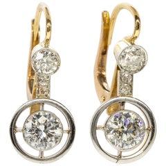 Antique Art Deco Old Mine Diamond Earrings