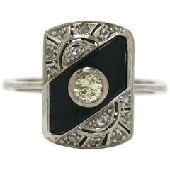 Antique Art Deco Onyx Engagement Ring Diamond Shield Vintage Heirloom Jewelry
