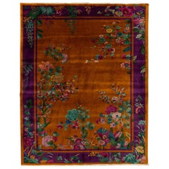 Antique Art Deco Orange and Purple Chinese Handmade Floral Wool Rug