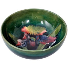 Art Deco Orchid Pattern Flambé Pottery Bowl, William Moorcroft, circa 1928