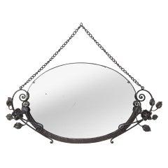 Antique Art Deco Oval Wrought Iron Mirror, 1931