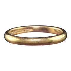 Antique Art Deco Peacock 22K Yellow Gold Engraved Classic Wedding Band