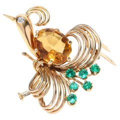 Antique Art Deco Peacock Brooch with 4.00ct Citrine, Diamond and Emeralds