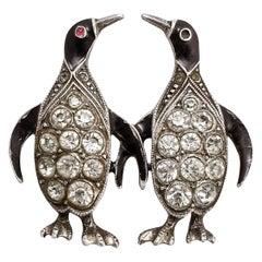 Antique Art Deco Penguins Brooch