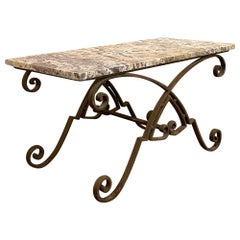 Antique Art Deco Period Wrought Iron & Marble Coffee Table