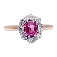 Antique, Art Deco, Pink Sapphire and Diamond Cluster Engagement Ring