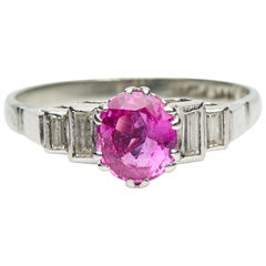 Antique, Art Deco, Pink Sapphire and Diamond Engagement Ring