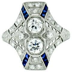 Antique Art Deco Platinum 1.14ct Old European Diamond Filigree Wheat Dinner Ring