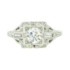 Antique Art Deco Platinum 1.32ctw Old European Diamond Solitaire Engagement Ring