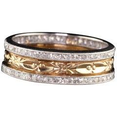 Antique Art Deco Platinum 14 Karat Rose Gold Single Cut Diamond Wedding Band