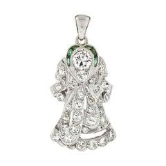 Antique Art Deco Platinum 1.40ctw European Diamond & Emerald Halo Angel Pendant