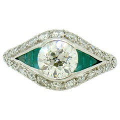 Antique Art Deco Platinum 1.65 Carat Old European Diamond and Emerald Ring