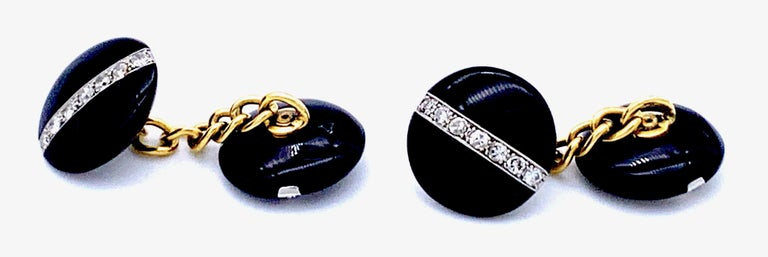 Antique Art Deco Platinum 18 Karat Yellow Gold Diamond Onyx Cufflinks In Good Condition For Sale In Munich, Bavaria