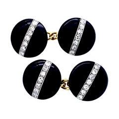 Antique Art Deco Platinum 18 Karat Yellow Gold Diamond Onyx Cufflinks