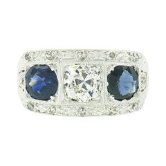 Antique Art Deco Platinum 3.21ctw GIA Sapphire & Diamond 3 Stone Engagement Ring