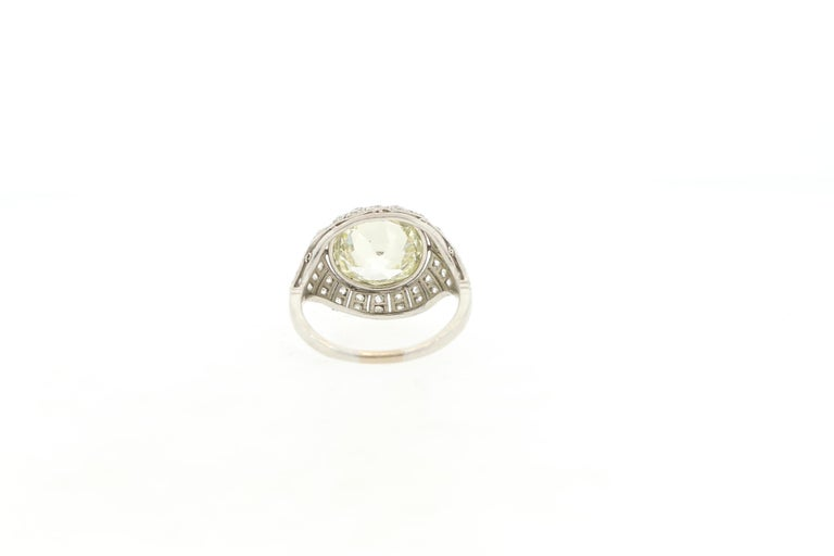 Antique Art Deco Platinum 4 Carat Old European Cut Diamond Ring In Good Condition For Sale In New York, NY