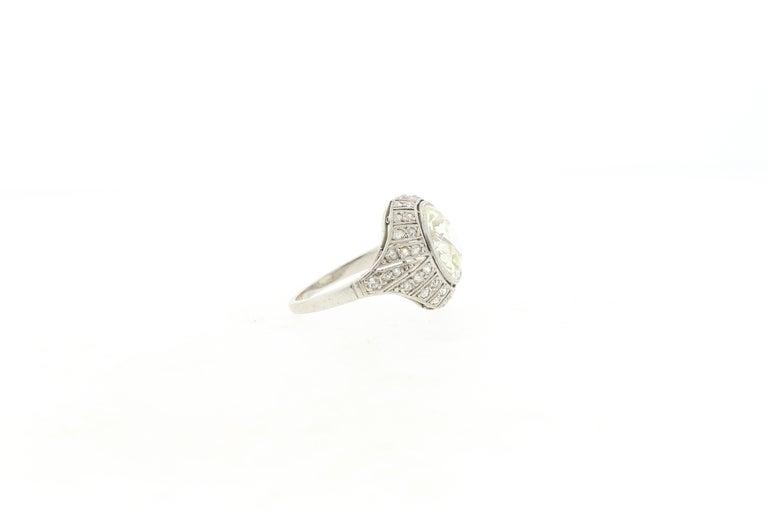 Women's or Men's Antique Art Deco Platinum 4 Carat Old European Cut Diamond Ring For Sale