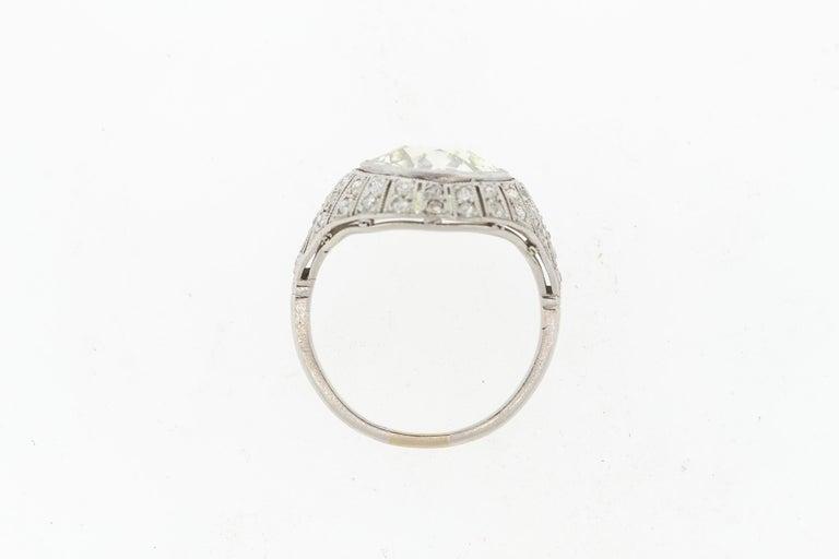 Antique Art Deco Platinum 4 Carat Old European Cut Diamond Ring For Sale 1