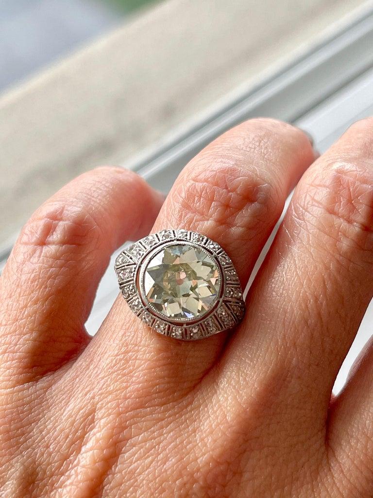 Antique Art Deco Platinum 4 Carat Old European Cut Diamond Ring For Sale 2