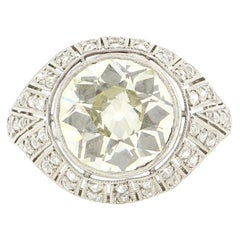 Antique Art Deco Platinum 4 Carat Old European Cut Diamond Ring