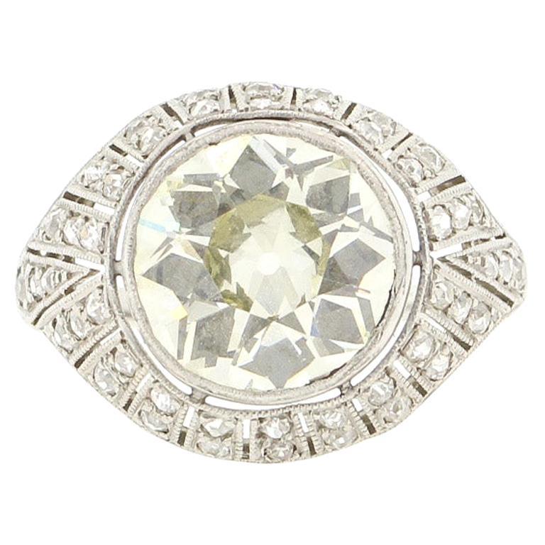 Antique Art Deco Platinum 4 Carat Old European Cut Diamond Ring For Sale