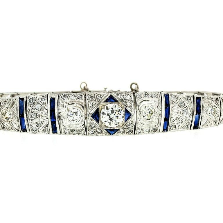 Old European Cut Antique Art Deco Platinum 4.18ctw GIA Diamond Sapphire Etched Filigree Bracelet For Sale