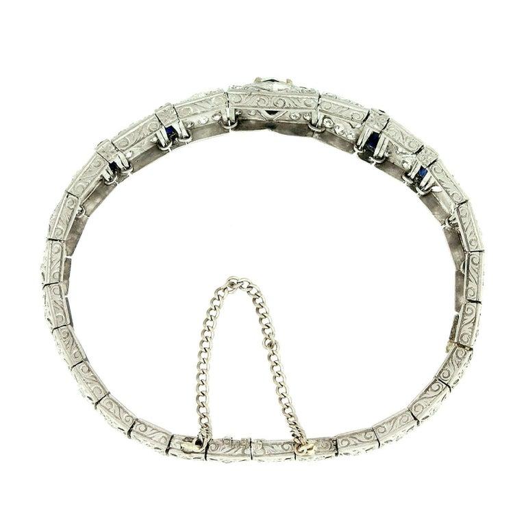 Antique Art Deco Platinum 4.18ctw GIA Diamond Sapphire Etched Filigree Bracelet In Good Condition For Sale In Montclair, NJ