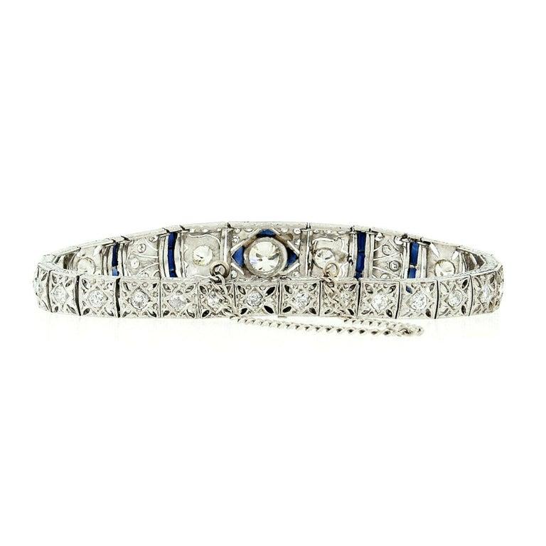 Women's Antique Art Deco Platinum 4.18ctw GIA Diamond Sapphire Etched Filigree Bracelet For Sale