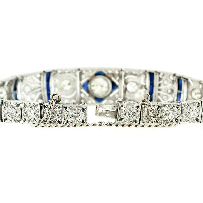 Antique Art Deco Platinum 4.18ctw GIA Diamond Sapphire Etched Filigree Bracelet For Sale 1