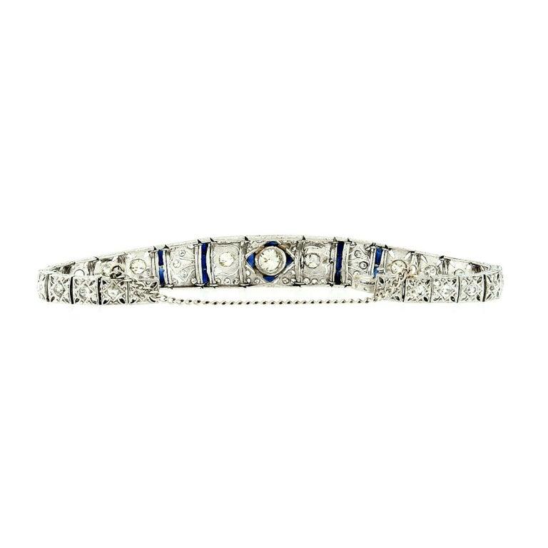 Antique Art Deco Platinum 4.18ctw GIA Diamond Sapphire Etched Filigree Bracelet For Sale 2