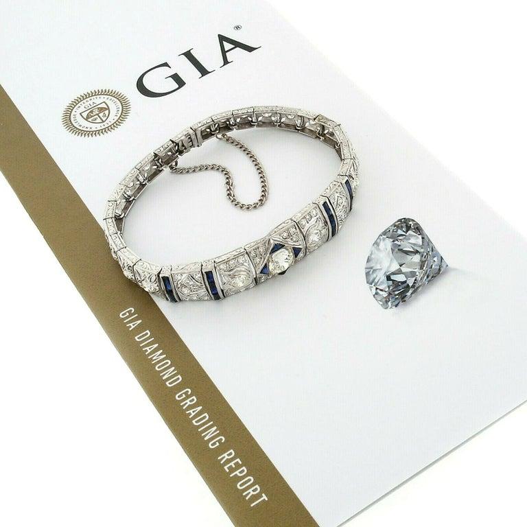 Antique Art Deco Platinum 4.18ctw GIA Diamond Sapphire Etched Filigree Bracelet For Sale 3
