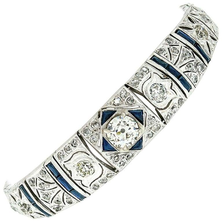 Antique Art Deco Platinum 4.18ctw GIA Diamond Sapphire Etched Filigree Bracelet For Sale
