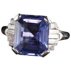 Antique Art Deco Platinum 5.63 Carat Ceylon No Heat Sapphire Engagement Ring