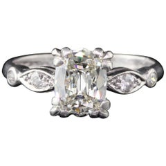 Antique Art Deco Platinum and 1.05 Carat Old Cushion Cut Diamond Engagement Ring