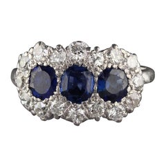 Antique Art Deco Platinum and 14 Karat White Gold Sapphire and Diamond Ring