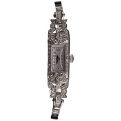 Antique Art Deco Platinum and 14 Karat White Gold Diamond Watch