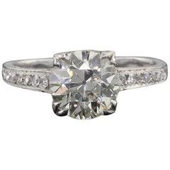 Antique Art Deco Platinum and 2.19 Carat Diamond Engagement Ring