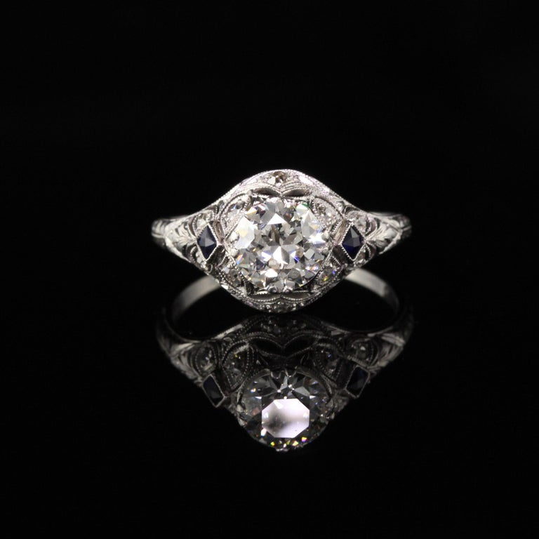 Old European Cut Antique Art Deco Platinum and Diamond Engagement Ring For Sale