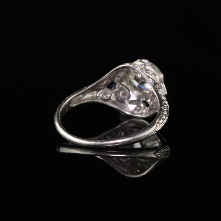 Antique Art Deco Platinum and Diamond Engagement Ring In Good Condition For Sale In New York, NY