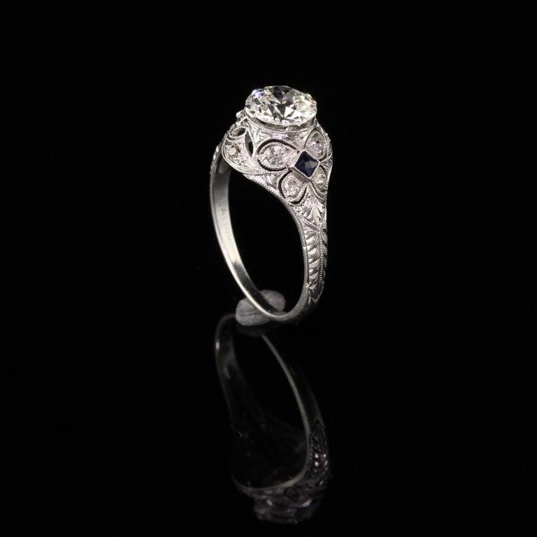 Women's or Men's Antique Art Deco Platinum and Diamond Engagement Ring For Sale