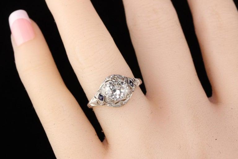 Antique Art Deco Platinum and Diamond Engagement Ring For Sale 1