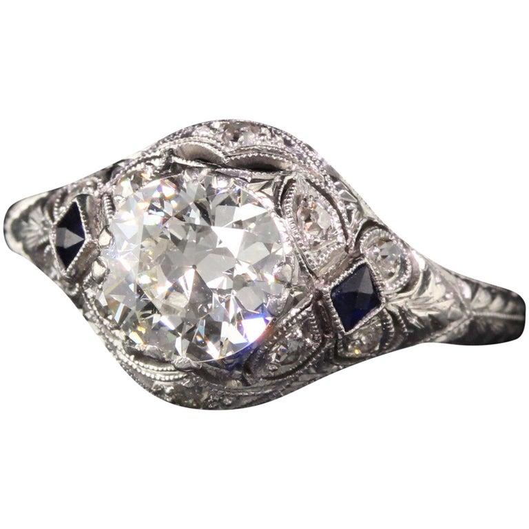 Antique Art Deco Platinum and Diamond Engagement Ring For Sale