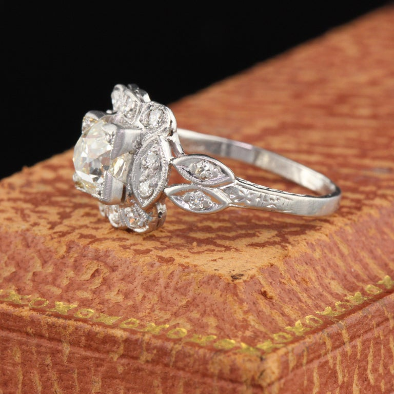Old Mine Cut Antique Art Deco Platinum and Diamond Engagement Ring GIA For Sale