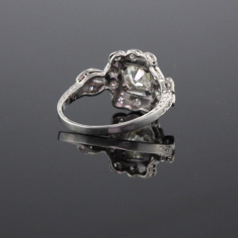 Women's Antique Art Deco Platinum and Diamond Engagement Ring GIA For Sale